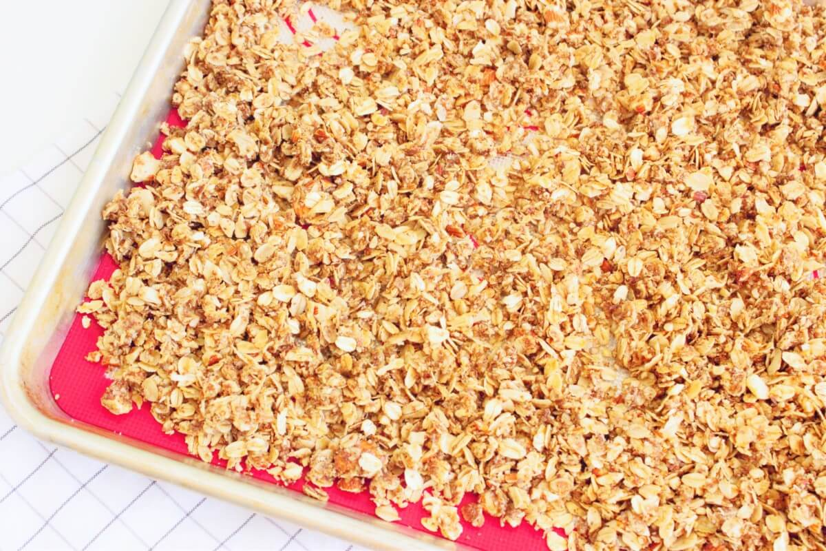 granola on sheet pan